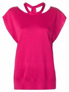 MRZ reverse tie neck blouse - Pink