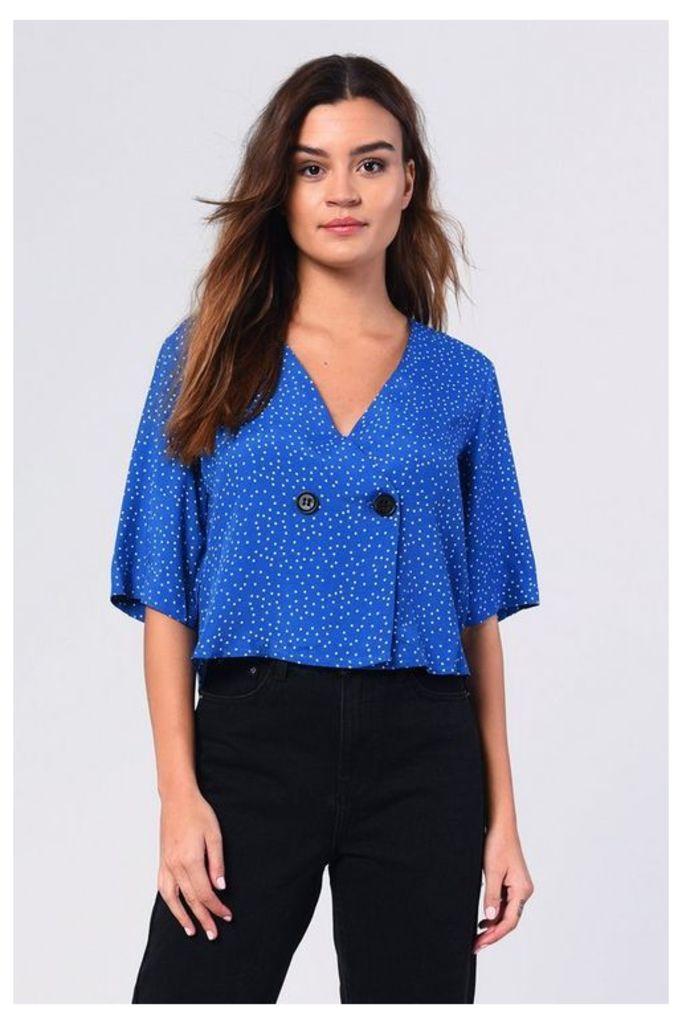 Womens **Pin Spot Blouse By Glamorous - Multi, Multi