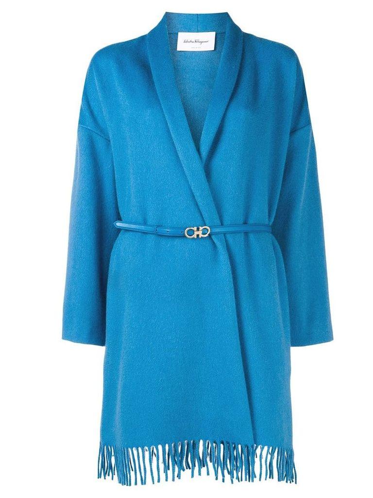 Salvatore Ferragamo belted wrap style coat - Blue
