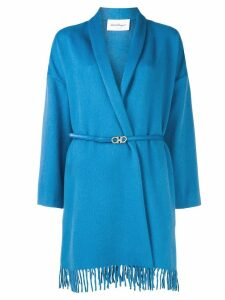 Salvatore Ferragamo belted wrap style coat - Blue