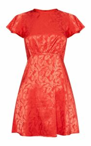 Red Floral Jacquard Ruched Top Skater Dress, Red