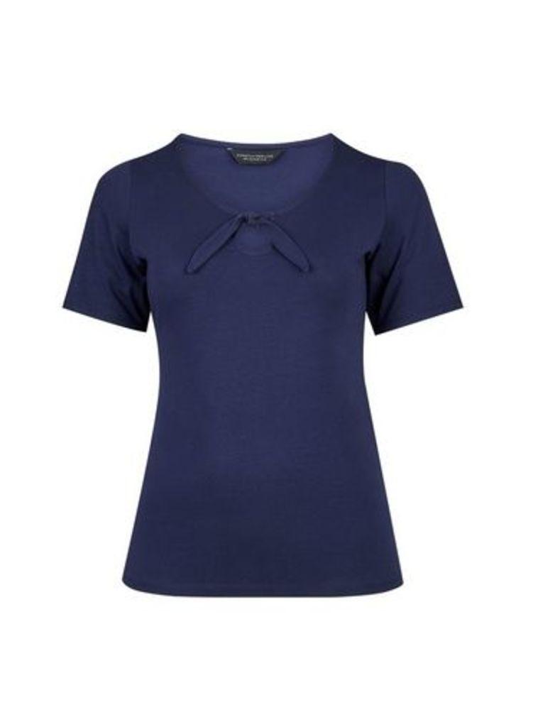 Womens **Dp Curve Navy Tie Front Top- Blue, Blue