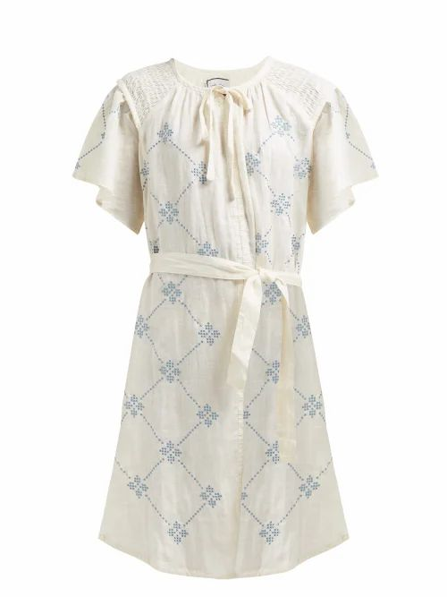 Innika Choo - Embroidered Tie Waist Linen Dress - Womens - Yellow