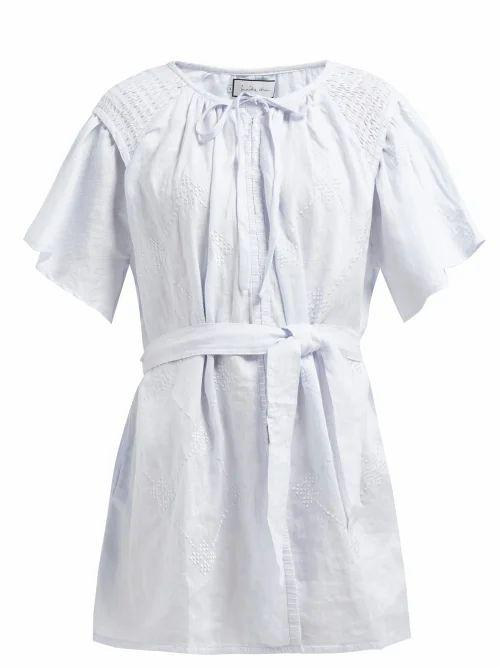Innika Choo - Hans Ufmafrök Smocked Linen Mini Dress - Womens - Light Blue