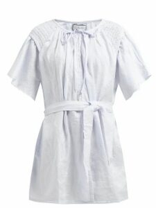 Innika Choo - Hans Ufmafrök Smocked Linen Mini Dress - Womens - Light Blue