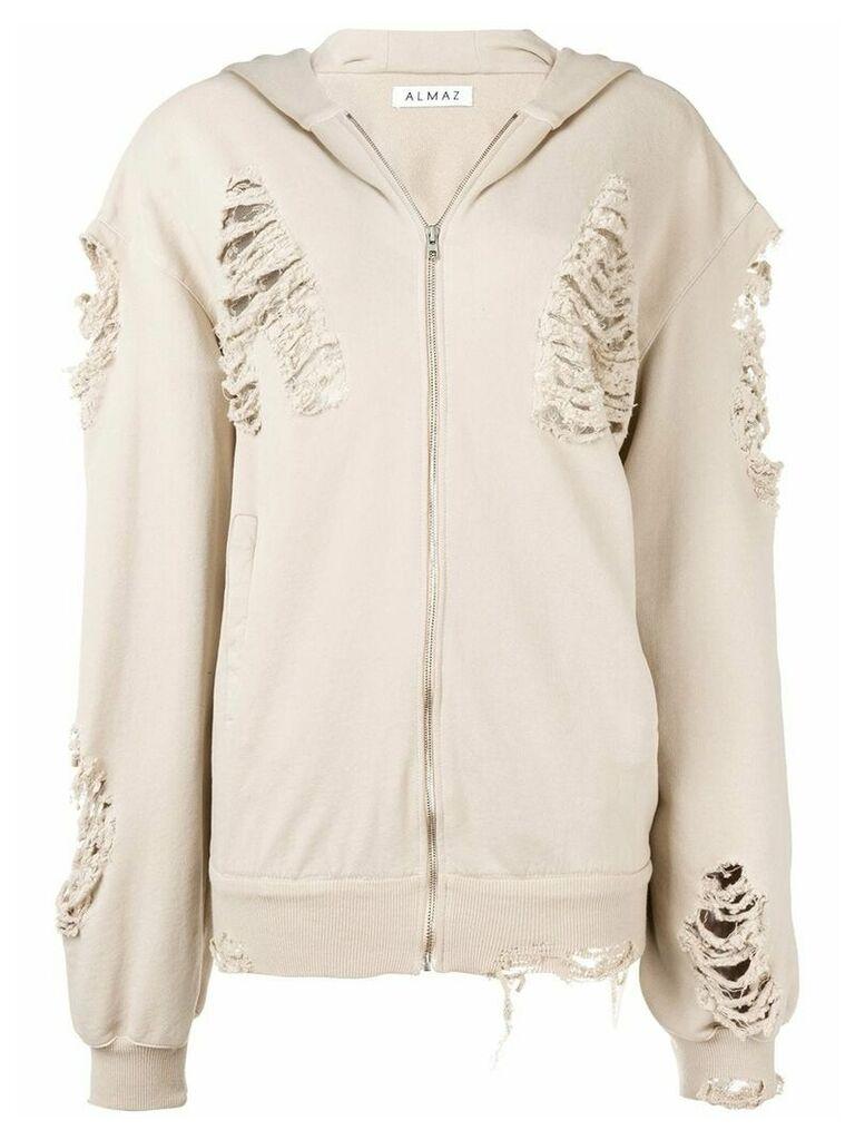 Almaz oversized distressed hooded jacket - Neutrals