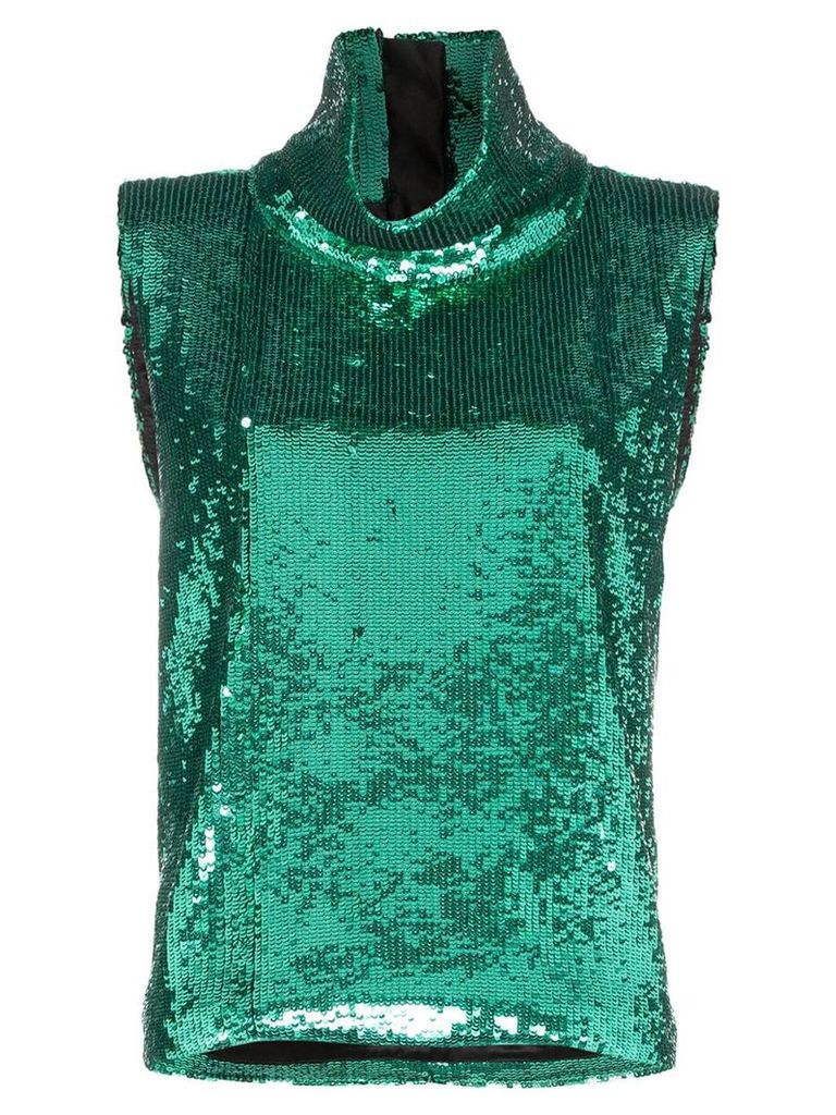 Halpern sleeveless sequin embellished turtleneck T-shirt - Green