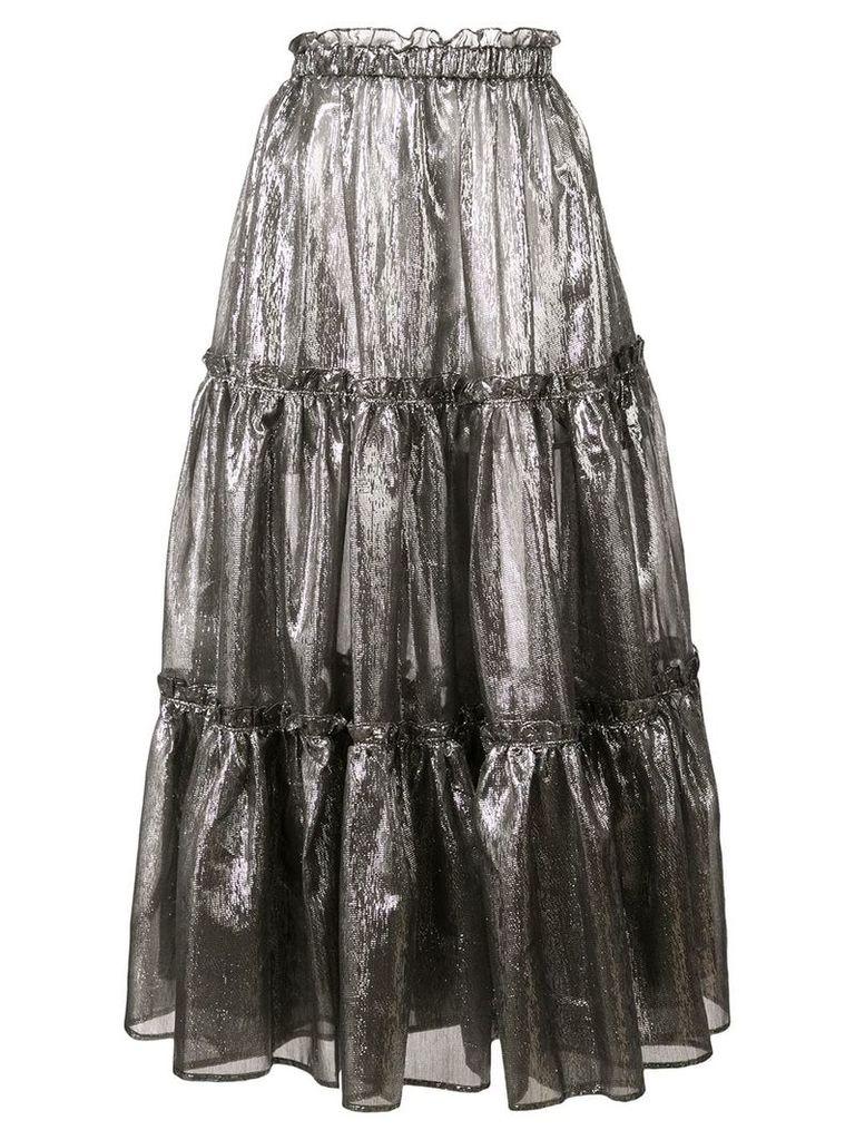 Lisa Marie Fernandez ruffle details metallic skirt - Silver