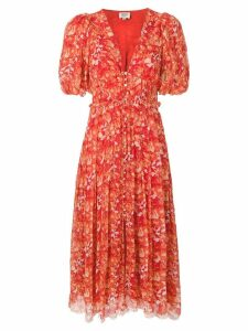 Hemant And Nandita floral print midi dress - Orange