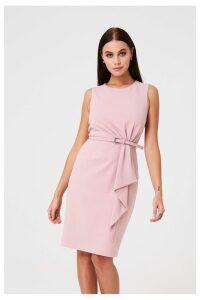Womens Paper Dolls Tie Waist Pencil Dress -  Pink