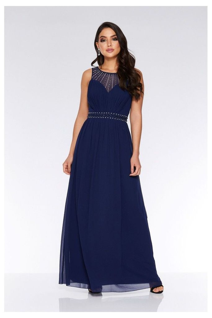 Womens Quiz Chiffon Embellished High Neck Maxi Dress -  Blue