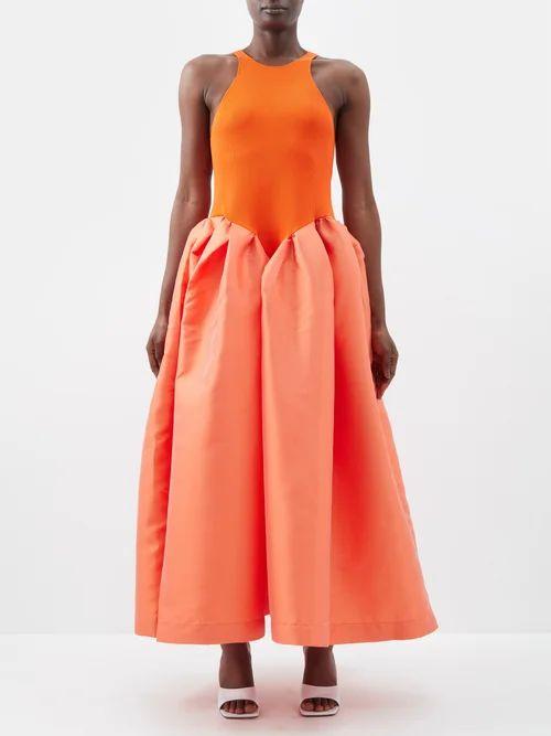 Colville - Draped Cotton Gabardine Midi Skirt - Womens - Brown