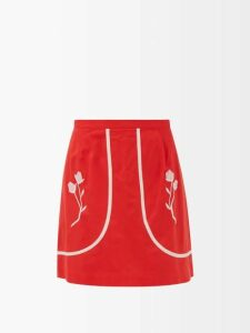 Colville - Draped Cotton Gabardine Midi Skirt - Womens - Brown