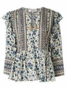 Sea floral print peplum blouse - Blue