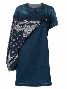 Sacai scarf detail denim dress - Blue