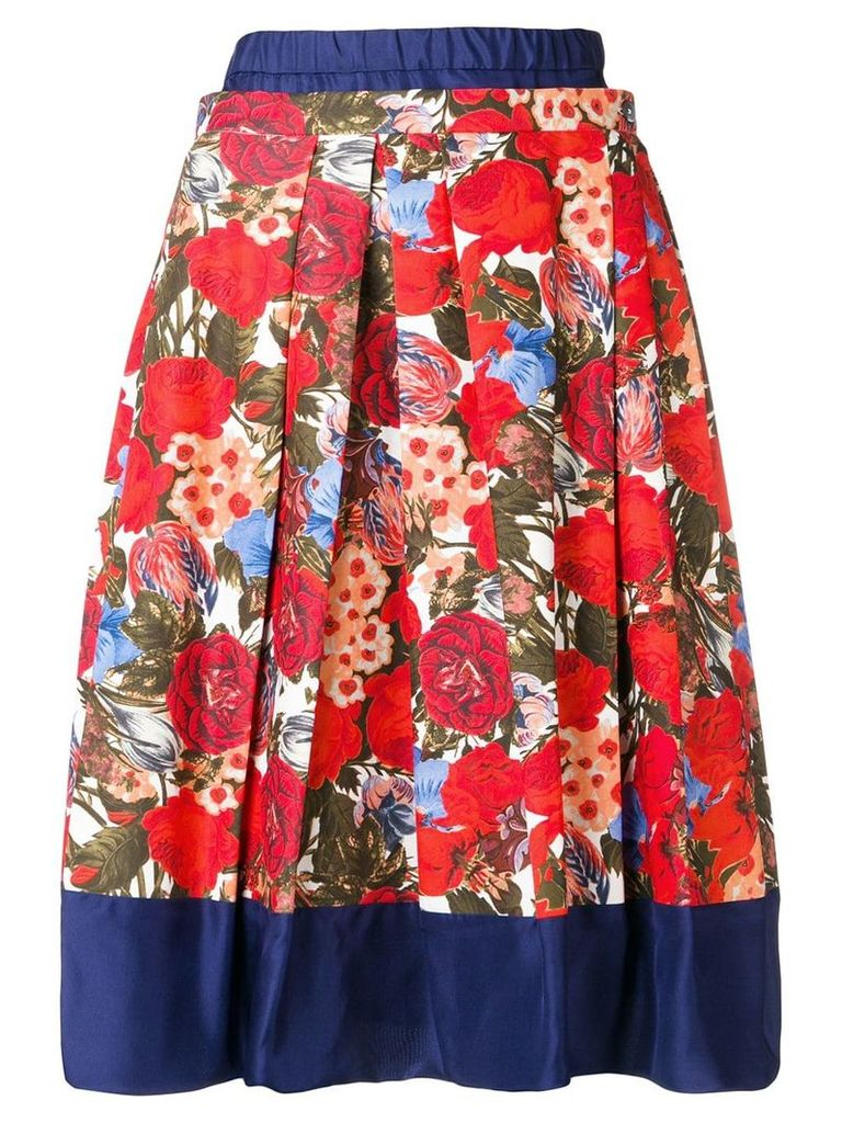 Marni floral pleated skirt - Red