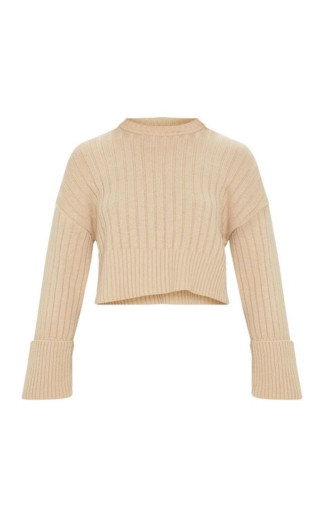 Beige Ribbed Knitted Long Sleeve Jumper, Camel