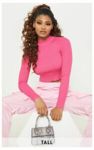 Tall Neon Pink Fitted Crop Knit Top, Neon Pink