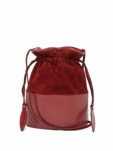 Hunting Season - Lola Suede And Lizard Skin Shoulder Bag - Womens - Red