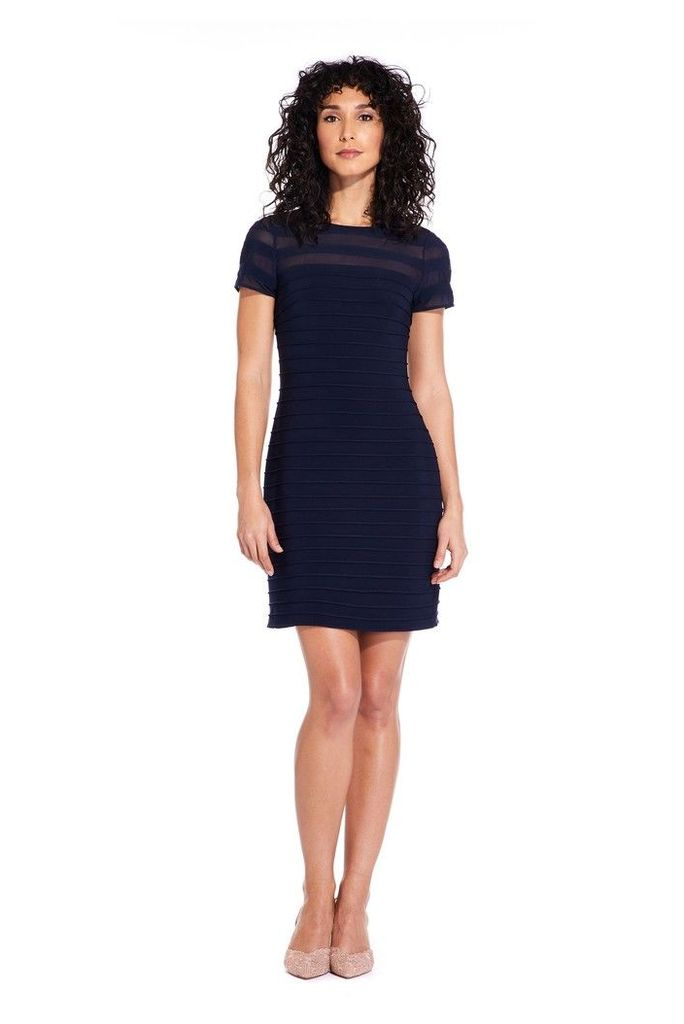 Womens Adrianna Papell Blue A-Line Banded Mini Dress -  Blue