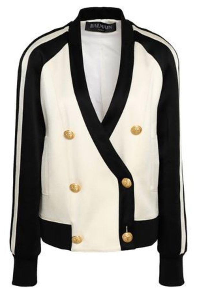 Balmain Woman Double-breasted Two-tone Crepe-satin Jacket Off-white Size 38
