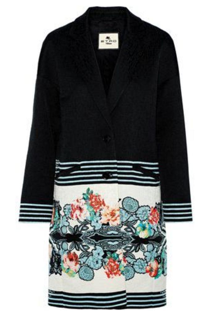 Etro Woman Printed Textured Cotton-blend Coat Black Size 46