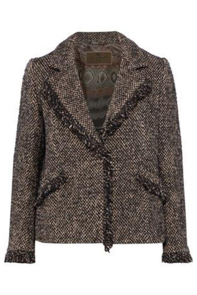 Etro Woman Frayed Tweed Jacket Black Size 42