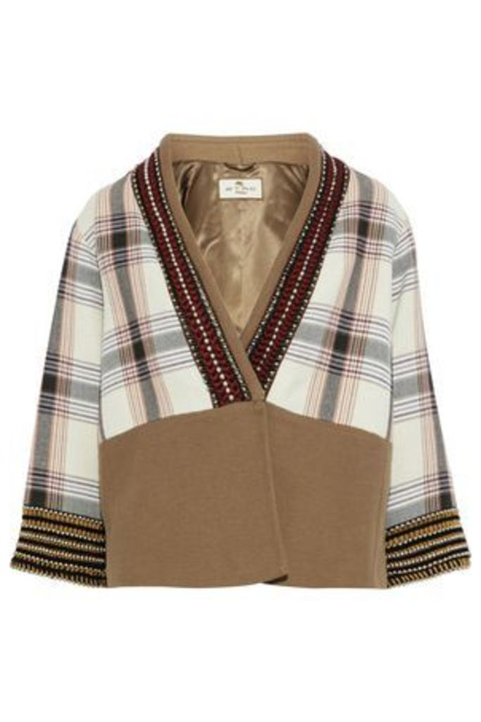 Etro Woman Wrap-effect Embellished Checked Cotton-blend Jacket Light Brown Size 42