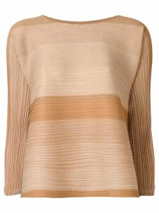 Pleats Please By Issey Miyake striped loose-print blouse - Neutrals