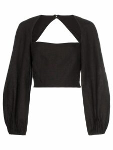 Mara Hoffman Moon square neck cropped hemp top - Black