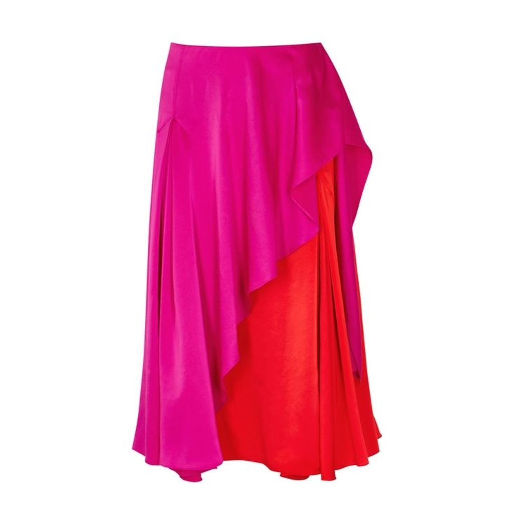 Kenzo Two-tone Draped Satin Skirt