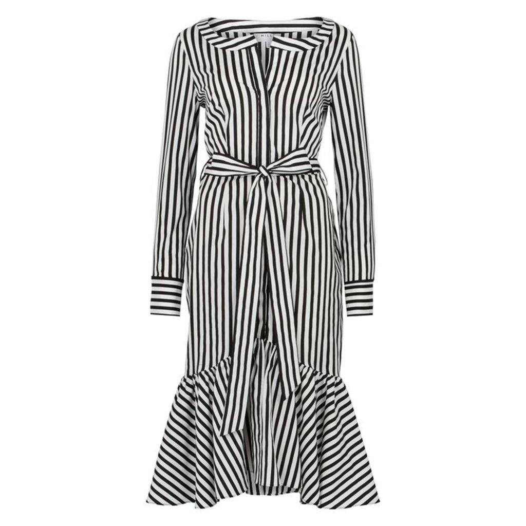MILLY Erica Striped Stretch-poplin Dress