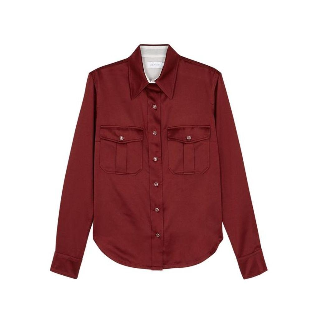 Calvin Klein Bordeaux Satin Shirt