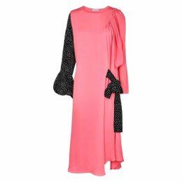 JW Anderson Pink Flocked Silk Midi Dress