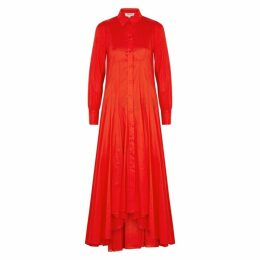 Kenzo Red Cotton Maxi Shirt Dress