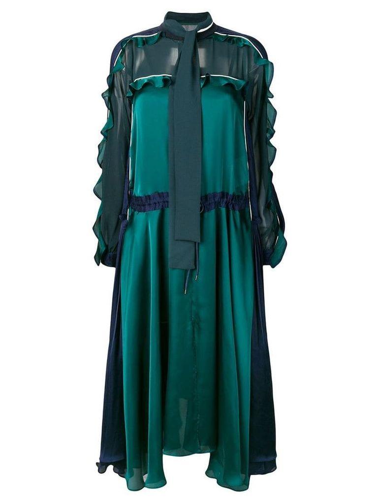 Sacai ruffled sleeves dress - Green