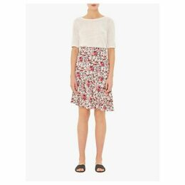 Gerard Darel Iris Asymmetric Floral Skirt, White/Multi