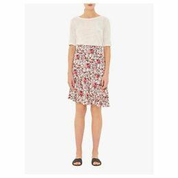 Gerard Darel Iris Asymmetric Floral Skirt, White/Multi