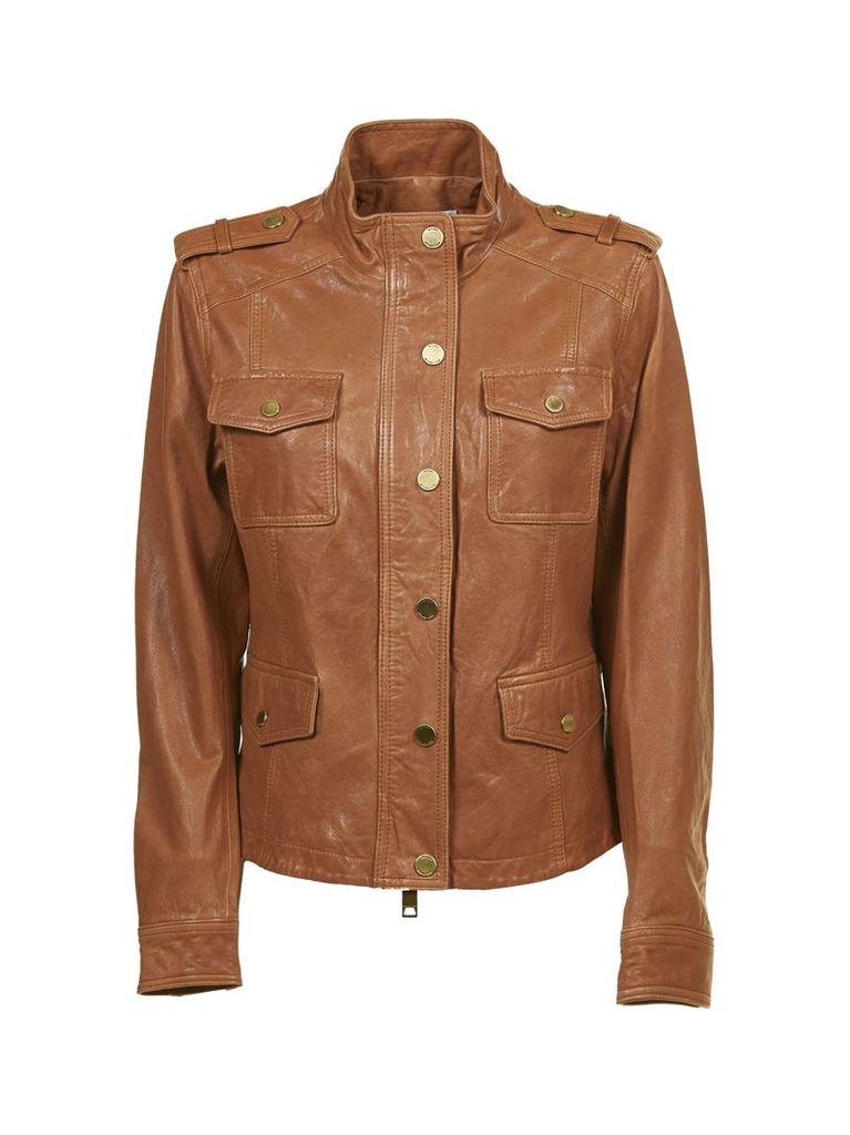 Michael Michael Kors Button-up Leather Jacket