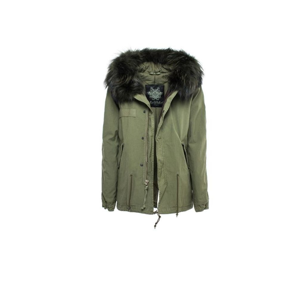 Mr & Mrs Italy Army Mini Parka Quilt Racoon Fur