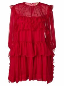Nº21 ruffle trim mini dress - Red