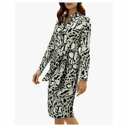 Jaeger Leopard Print Dress, Stone/Multi