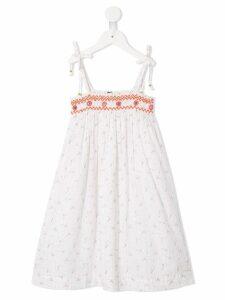 Velveteen eden shoulder smocked dress - White