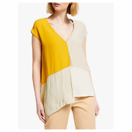 John Lewis & Partners Asymmetric Colour Block Top