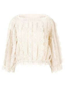 Red Valentino lace and mesh panel blouse - Neutrals