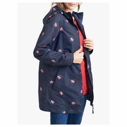 Joules Dockland Reversible Posy Print Raincoat, Navy
