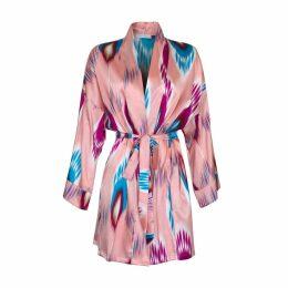 GTNight - Aurélie Pink Peacock Silk Kimono