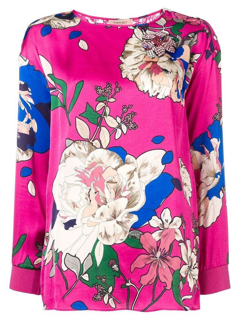 Twin-Set lace back floral satin blouse - Pink