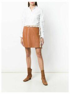 Loewe tasselled straight mini skirt - Brown