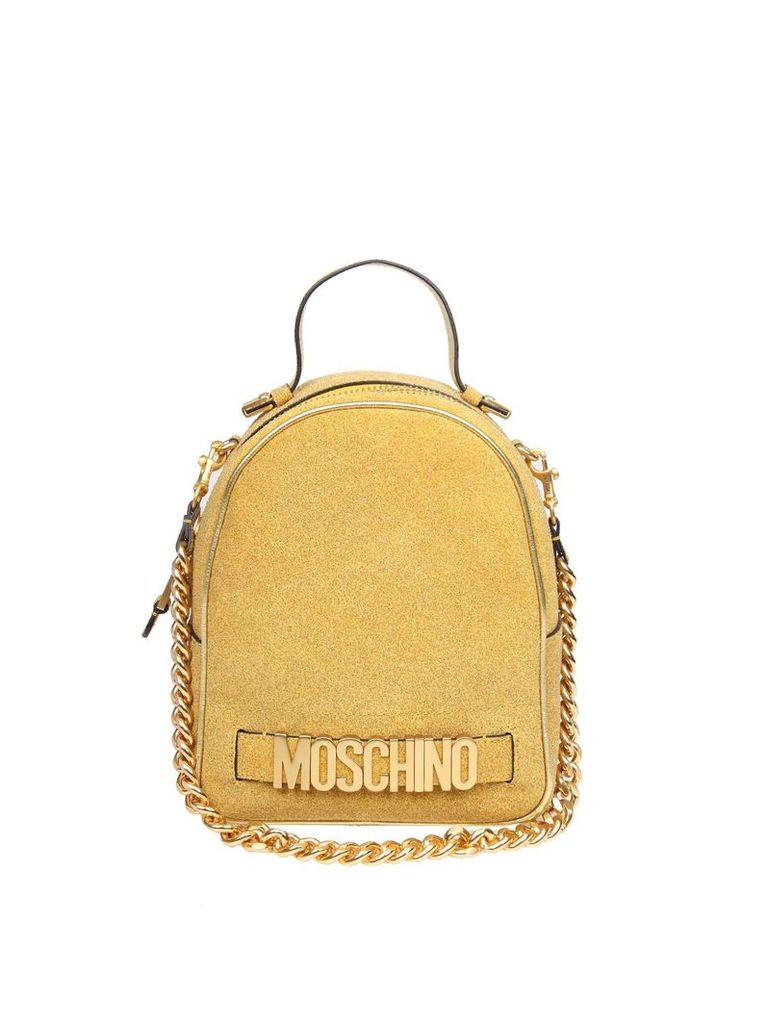 Moschino Backpack In Fabric Coated In Gold Glitter